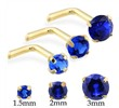 14K Gold L-shaped nose pin with Round Sapphire