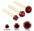 14K Gold Long Customizable Nose Stud with Round Garnet