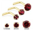14K Gold L-shaped Nose Pin with Round Garnet