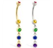 14K Gold belly ring with quadruple Rainbow Gemstone dangle