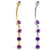 14K Gold belly ring with quadruple Amethyst dangle