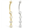 14K Gold belly ring with quadruple CZ dangle