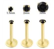 14K Gold internally threaded labret with Black CZ