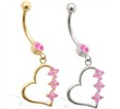 14K Gold belly ring with Pink Tourmaline jeweled dangling heart