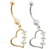 14K Gold belly ring with Clear CZ jeweled dangling heart