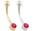 14K Gold Bezel Set Ruby Belly Ring