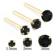 14K Gold Long Customizable Nose Stud with Round Black CZ