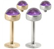 14K  Gold internally threaded labret with 4mm Amethyst Cabochon