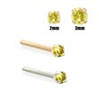 14K Gold Yellow Diamond Nose Stud