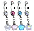 Surgical Steel Flower Prism Belly Ring