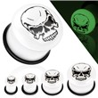 Pair Of Skull Logo Glow In The Dark Inlay Dome Top Single Flared Acrylic Plugs
