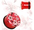 Pair Of Red Acrylic Oriental Flower Blossom Single Flare Plugs