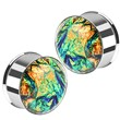 Pair Of Stainless Steel Multi-Colored Foil Double Flared Plugs