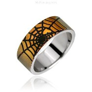 Surgical Steel Spider Web Ring