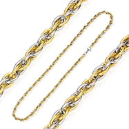 316L Stainless Steel Tri-Link Two Tone IP Gold Chain