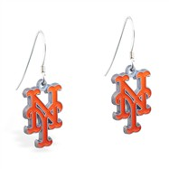 Mspiercing Sterling Silver Earrings With Official Licensed Pewter MLB Charms, New York Metts