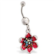 Navel ring with dangling multi-jeweled flower
