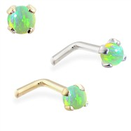 14K Gold L-shaped Nose Pin with 2mm Round Green Opal