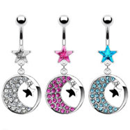 Belly ring with dangling round crescent moon and stars