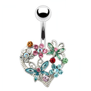 Multi-Colored Flower And Butterfly Heart Navel Ring