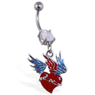 Navel ring with dangling heart with wings