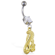 Navel ring with dangling gold color cobra