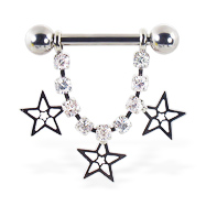 Nipple ring with dangling jeweled chain and stars, 12 ga or 14 ga