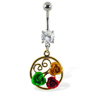Navel ring with dangling multi-colored roses in a circle