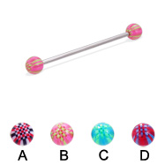 Long barbell (industrial barbell) with acrylic checkered balls, 14 ga