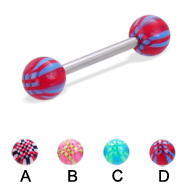 Straight barbell with acrylic checkered balls, 14 ga
