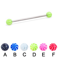 Tornado ball long barbell (industrial barbell), 14 ga