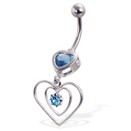 Navel ring with hearts and gems