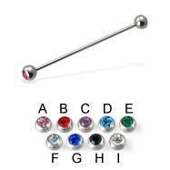 Long Barbell (Industrial Barbell) with Jeweled Balls, 16 Ga