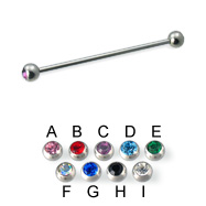 Jeweled ball long barbell (industrial barbell), 14 ga