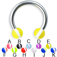 Circular barbell with striped balls, 12 ga