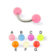 Glow-in-the-dark ball curved barbell, 14 ga