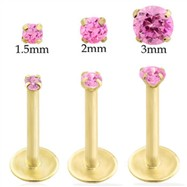 14K Gold internally threaded labret with Pink Tourmaline