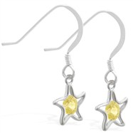 Sterling Silver Earrings with dangling Citrine jeweled star