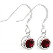 Sterling Silver Earrings with 5mm Bezel Set round 5mm Garnet