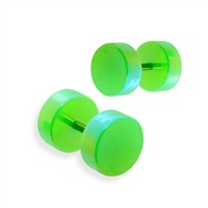 Pair of fake metalic green plugs, 16GA