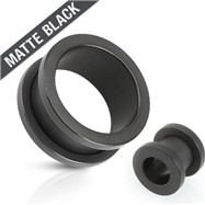 Pair Of Double Flared Screw-Fit Tunnels Surgical Steel Solid Matte Black