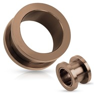 Pair Of Bronze Screw Fit Flesh Tunnels