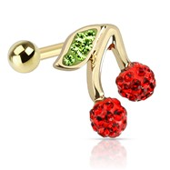 Cherry with Red And Green CZ Gold Toned Stainless Steel Tragus