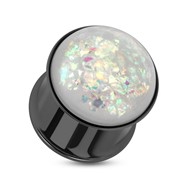 Pair Of Synthetic Opal Black IP Double Flared Plugs Surgical Steel