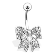 Gem Paved Bow Belly Ring